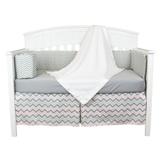 Pink and Gray Chevron 5-piece Zig Zag Baby Bedding Set with Fleece Blanket and Chevron Bumper