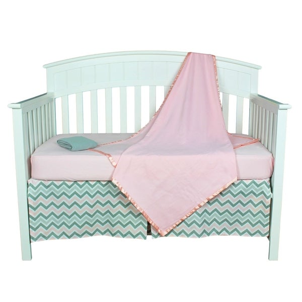 shop pink and grey zig zag chevron five piece baby girl crib bedding set free shipping today. Black Bedroom Furniture Sets. Home Design Ideas