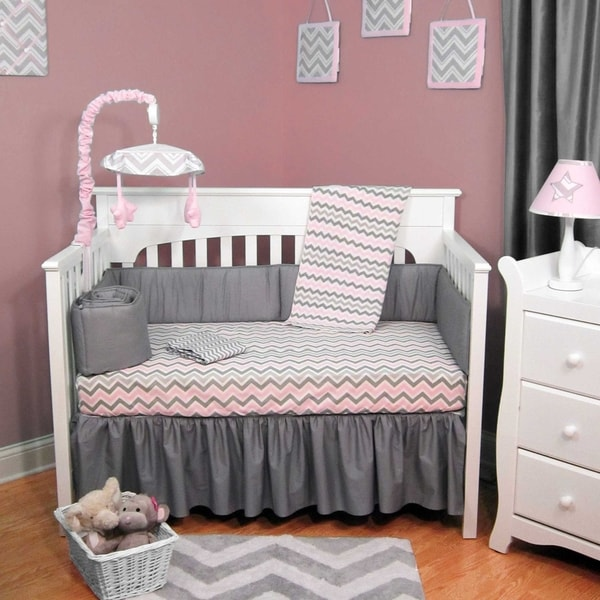 Pink And Grey Chevron 6 Piece Baby Crib Bedding Set With
