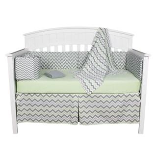 Chevron Zig Zag Green and Grey Neutral 6-piece Unisex Baby Bedding With Bumper