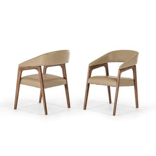 Modrest Clive Taupe/Walnut Wood/Foam/Faux Leather Modern Dining Chair