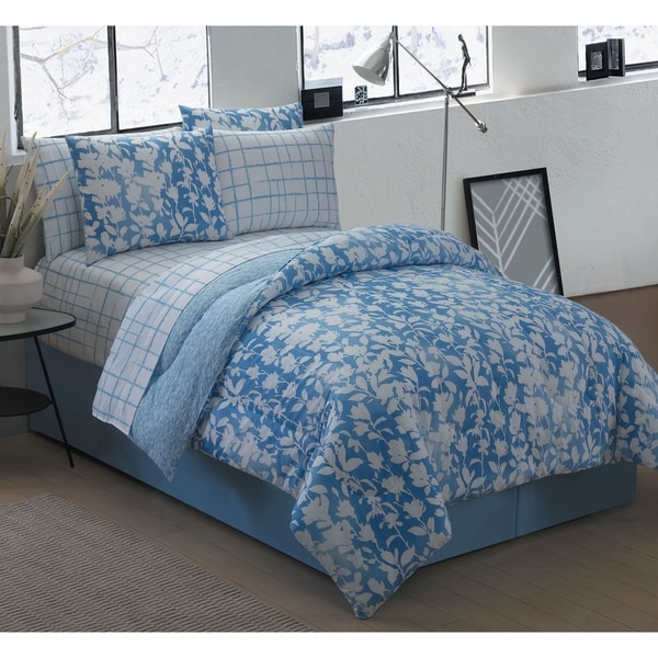 Avondale Manor Edgewood Blue 8-piece Bed in a Bag with Sheet Set