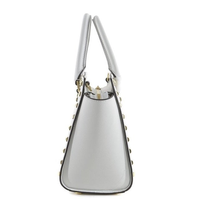 Michael Kors Studded Selma Medium Top Zip Leather Satchel Shoulder Bag in Optic White