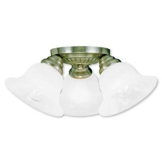 Livex Lighting Edgemont Brass 3-light Antique Ceiling Mount Fixture