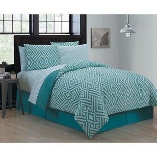 Avondale Manor Kennedy Teal 8-piece Bed in a Bag with Sheet Set