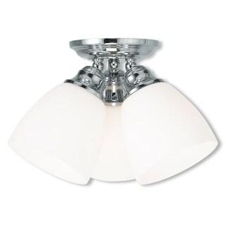 Livex Lighting Polished Chrome-finished Steel/Glass Somerville 3-light Ceiling Mount