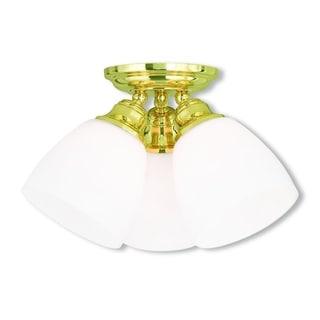 Livex Lighting Somerville 3-light Polished Brass Ceiling Mount Fixture