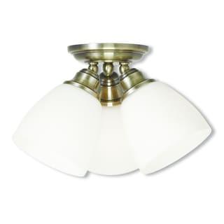 Livex Lighting Somerville Antique Brass 3-light Ceiling Mount Fixture
