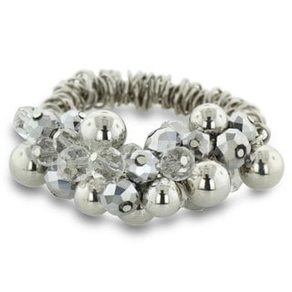 Chunky Bead and Iridescent Crystal Bracelet, 7 Inches, fits 6.5 to 8 inches