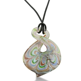 Pink Multicolored Murano Glass Spiral Pendant on 19 Inch Black Leather Cord Necklace