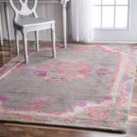 nuLOOM Handmade Floral Border Grey Rug (5' x 8') - 5' x 8'