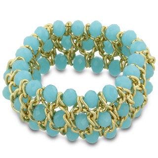 Triple Row Light Blue Opaque Crystal Matte Finish Gold Tone Bracelet