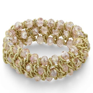 Triple Row Ballerina Pink Crystal and Matte Finish Bracelet