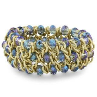 Triple Row Iridescent Electric Blue Crystal Matte Finish Bracelet