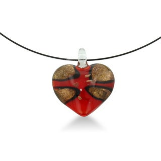 Vibrant Red Heart Shaped Murano Glass Pendant on 18 inch Black Wire