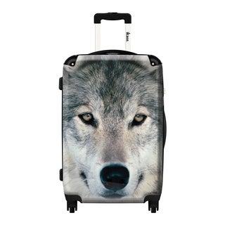 iKase Grey Polycarbonate 20-inch Wolf Fashion Hardside Carry-on Upright Suitcase