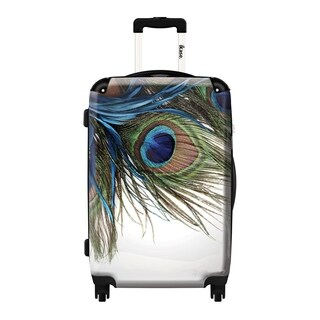 iKase Peacock Feather 20-Inch Fashion Hardside Carry-On Upright Suitcase