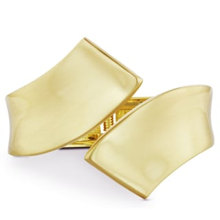 Golden Double Ribbon Design Hinged Cuff Bangle Statement Bracelet