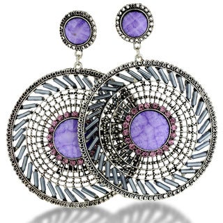 Silver Tone 3 1/2 Inch Purple Bead Medallion Drop Earrings
