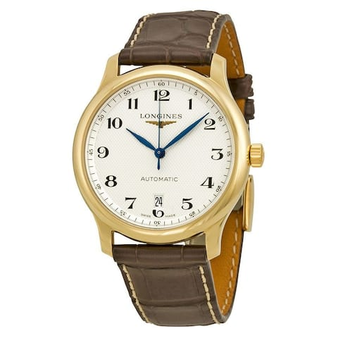 Longines Men's L26286783 'Master Collection' 18kt Yellow Gold Automatic Brown Leather Watch
