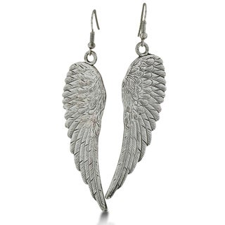 Vintage Inspired Silver Tone Angel Wing Earrings