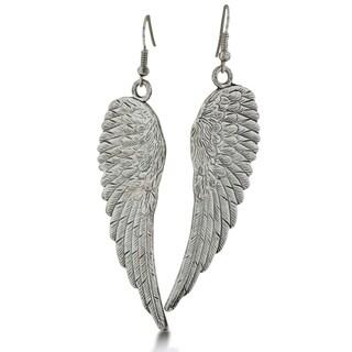Vintage Inspired Silver Tone Angel Wing Earrings