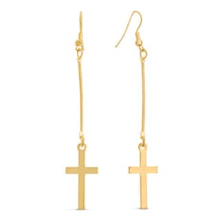 Gold Floating Cross Earrings, 3 Inches