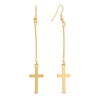 Gold Over Brass Floating Cross Earrings, 3 Inches