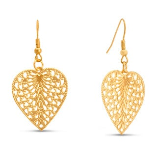 Gold Heart Shape Leaf Earrings, 1 1/2 Inches