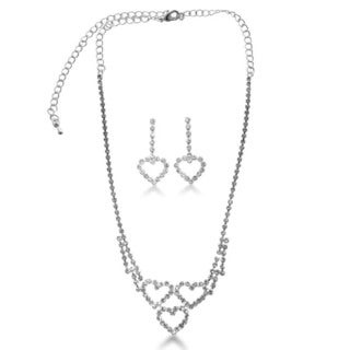 Triple Heart Rhinestone Necklace and Dangle Earring Bridal Ensemble, With Free Interlocking Heart Br