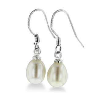 5-6mm Solitaire White Drop Freshwater Pearl Dangle Earrings