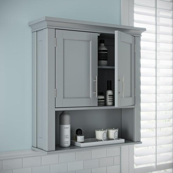 RiverRidge Somerset Collection Two-Door Wall Cabinet, Gray