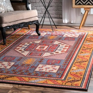 nuLOOM Tribal Border Rust Rug (8'6 x 11'6)
