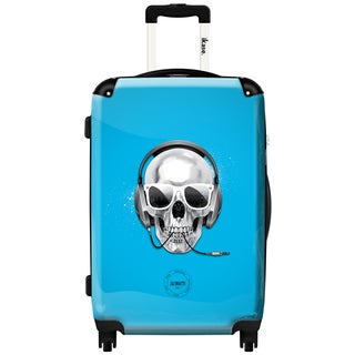 iKase Skull Pop Blue 20-inch Hardside Carry-on Upright Spinner Suitcase