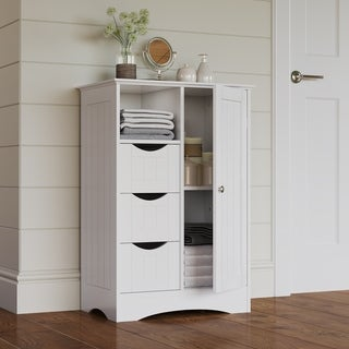 RiverRidge Home Products Ashland Collection Painted Grey/White MDF 1-door 3-drawer Floor Cabinet