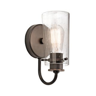 Kichler Lighting Braelyn Collection 1-light Olde Bronze Wall Sconce https://ak1.ostkcdn.com/images/products/12090771/P18955156.jpg?impolicy=medium