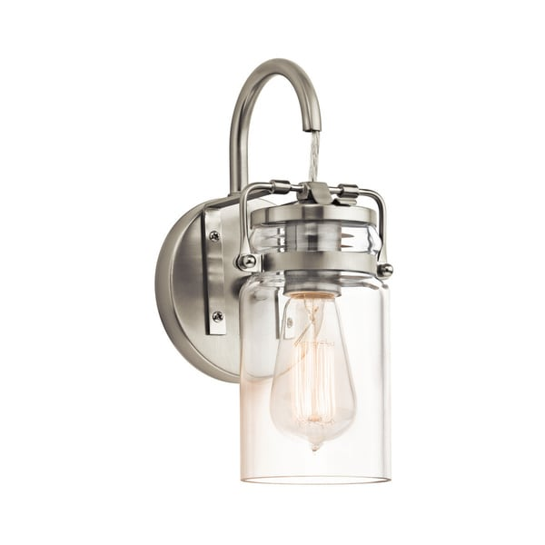 Kichler Lighting Brinley Collection 1 Light Brushed Nickel Wall Sconce