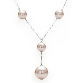 DaVonna Sterling Silver 14mm and 20mm Pink Shell Pearls Chain Necklace