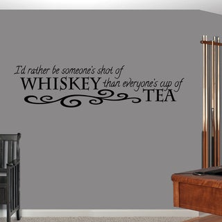 Sweetums Vinyl 60-inch x 13-inch 'Shot of Whiskey Cup of Tea' Wall Decal