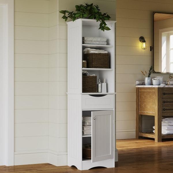 Corner Cabinet Bathroom Shelves Storage Organizer Tall Kitchen Hutch Espresso