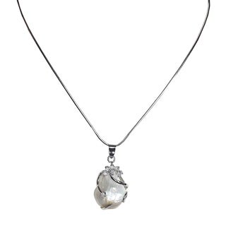 White Sterling Silver with Teardrop Mother of Pearl Pendant on 17-inch Chain