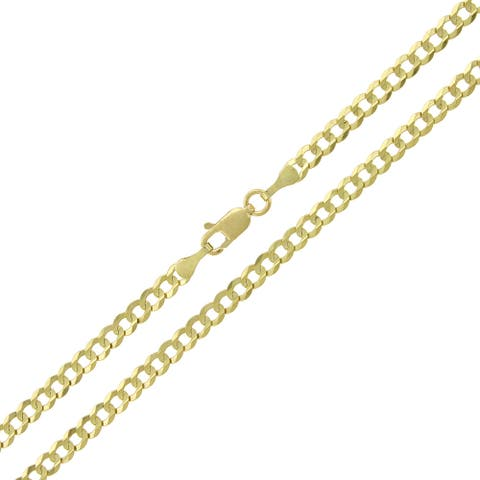 """10k Yellow Gold 3.5mm Solid Cuban Curb Link Necklace Chain 18"""" - 26"""""""