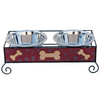 Indipets Inc. Luxe Craft Wood and Iron Bone Dog Bowls Set