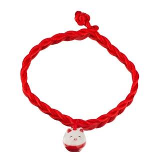 Little Girl Red Silk Braided Lucky Pig Charm Bracelet