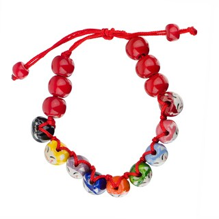Little Girl Colorful Lucky Cat Adjustable Beaded Bracelet