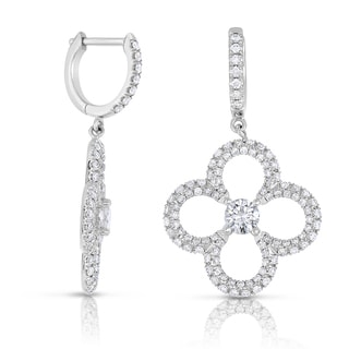 Eloquence 14k White Gold 1 1/3ct TDW Flower Dangle Diamond Earrings (H-I, I1+)
