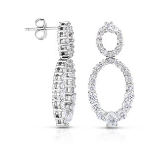 Eloquence 14k White Gold 2ct TDW Double Oval Drop Diamond Earrings