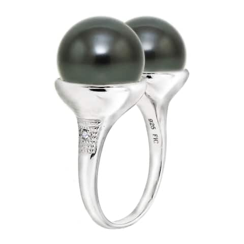 DaVonna Sterling Silver 10-11mm Tahitian Pearl and Diamond Accent Ring - Black