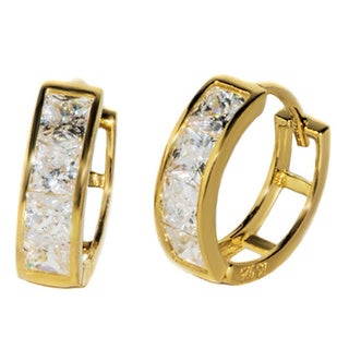 Pori 18k Goldplated or Rhodium Sterling Silver Sqaure CZ Round Earrings