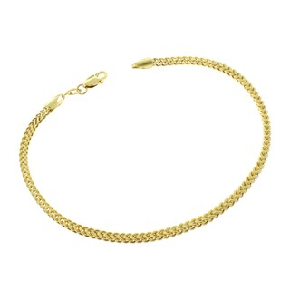 14k Yellow Gold 2mm Hollow Franco Link Bracelet Chain 7.5""